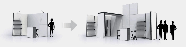 Croquis de présentation du concept des PLV et du mobilier de stands MODULARIO