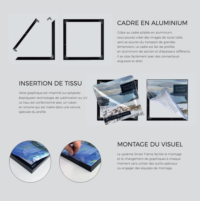 PLV SMART FRAME - cadre pliable en aluminium. Impression sur Polyester par sublimation - tissus avec un ruban en silicone.