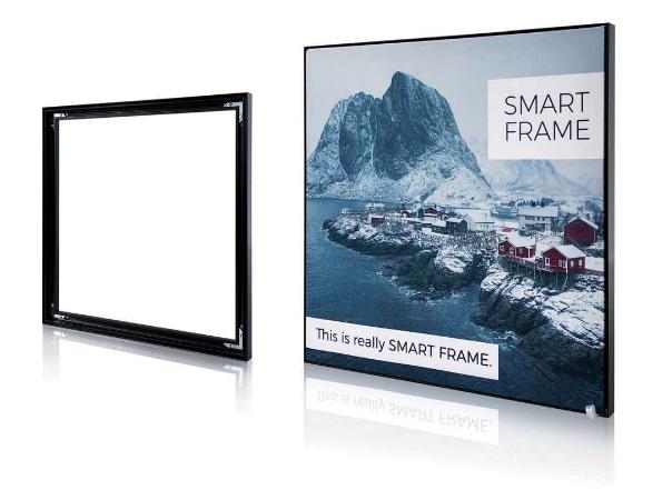 SMART FRAME: panneaux PLV de grande taille, avec impression numérique haute résolution qualité photo.