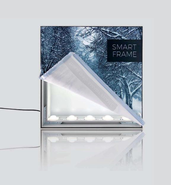 SMART FRAME: les panneaux et PLV peuvent être dotés d'éclairages internes rétro-éclairants.