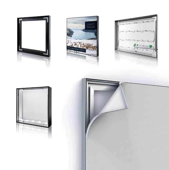 Différentes vues détaillées de PLV amovibles SMART FRAME, qui peuvent disposer d'éclairages LED internes rétro-éclairants.